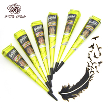 6 Pieces Golecha Black Indian Henna Tattoo Paste Cream Cones,Temporary Mehndi Henna Lack Tattoo Tatoo Paste For Body Paint 25g
