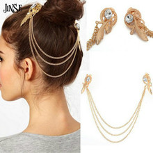 JINSE Fashion Gold Plate Crystal Rhinestone Feather Charm Hair Brooch Clip Pin Cuff Chain Head Band Hair Jewelry HJW001