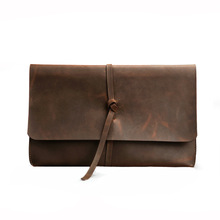 3 Colors Genuine Leather Pen Bag Large Capacity Storage Pan case Business Stationery Gift