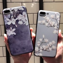 SZYHOME Phone Cases for IPhone 6 6s 7 Plus Case Chinese Style Flower Discounted for IPhone 7 Plus Embossment Phone Cover Capa