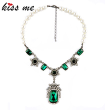KISS ME New Design Fashion Jewelry Green Glass Pendant Imitation Pearl Statement Luxury Necklaces &Pendant