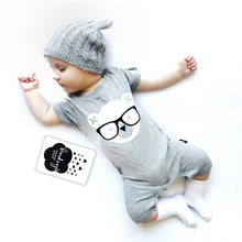 2017 fashion Infant clothing baby romper gray short sleeve cartoon bear one piece suit Jumpsuit newborn baby boy girl clothes