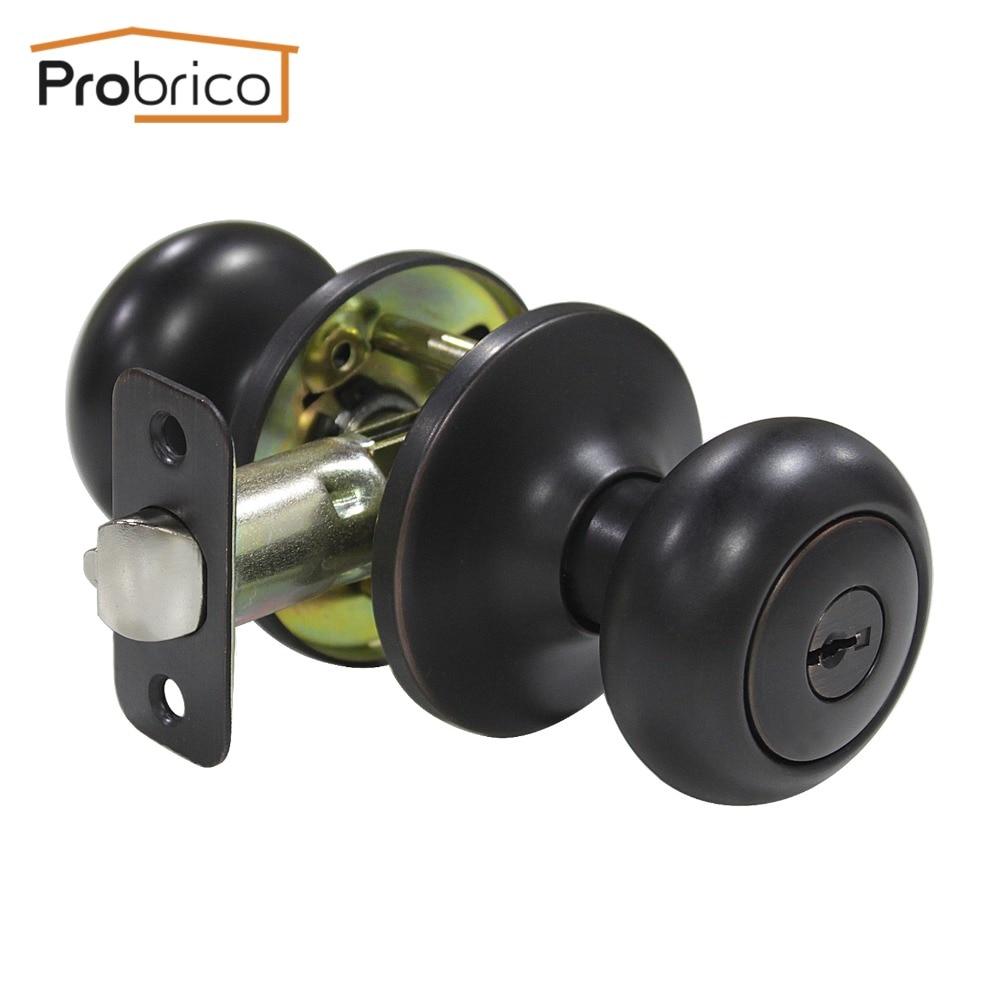 Probrico Stainless Steel Safe Lock Security Door Lock With Key Oil Rubbed Bronze Door Handles Entrance Locker DL5766ORBET<br><br>Aliexpress