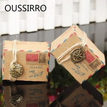4PCS/Lot Retro Postal Kraft Paper Wedding Candy Boxes European Party Favor Gift Box Chocolate Treat Packing Box Casamento Decor