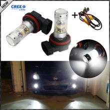 6000K Xenon White CRE'E High Power H8 H9 H11 LED Light Bulbs For High Beam DRL Lights or Fog Lights+ Error Free Canbus Decoders