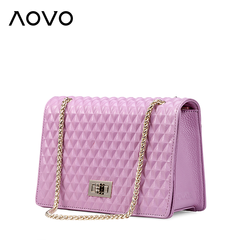 100% Genuine cow leather Womens bag Lovely Chain Diamond Lattice cross-body bag Fashion candy colors shoulder messenger bags<br>