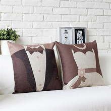 Wedding style cushion no inner mr mrs married couples gift cartoon cute Nordic contracted cotton linen throw pillows sofa decor(China)