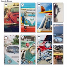 Retro summer volkswagen bus beach art (1) skin hard White phone case cover for Sony Xperia z5 z4 z3 z2 z1 M5 M4 Aqua XA