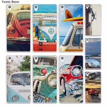 Retro summer volkswagen bus beach art (1) skin hard White phone case cover for Sony Xperia z5 z4 z3 z2 z1 M5 M4 Aqua XA(China)