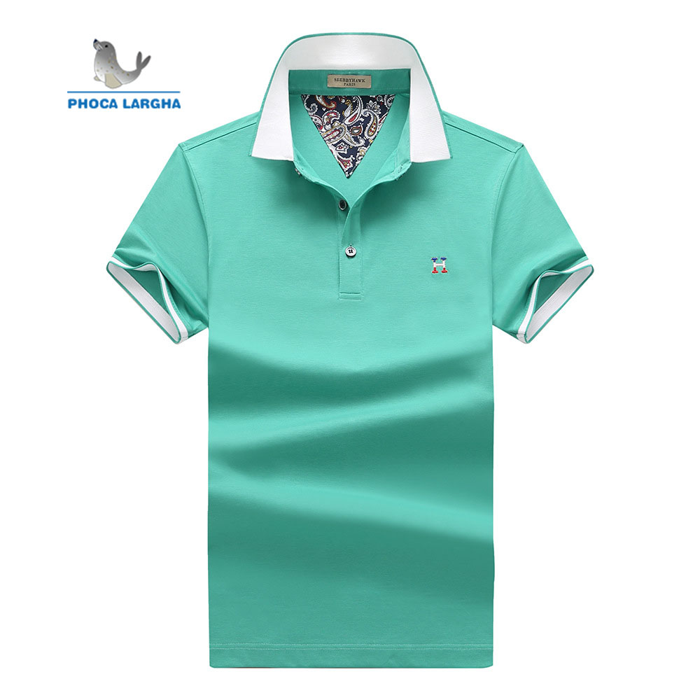 Summer Men's 2019 Short Sleeve Cotton Solid Color Fashion Lapel Slim Fit Shirt Print Breathable Business Casual