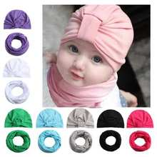 Spring Autumn Cotton Baby Hat Scarf For Kids Girl Bohemia Style Candy Color Beanies Scarves Newborn Photography Props(China)