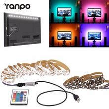 DC 5V 1M 2M 3M 4M 5M LED Strip RGB Light TV Back Lighting Kit + IR Remote Controller 5050 SMD RGB 60led/m Ribbon Tape Lamp IP60(China)