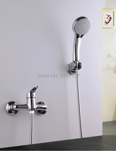 high quality brass material Chrome Wall Mounted bathroom shower faucet set with five function hand spray and 1.5m hose