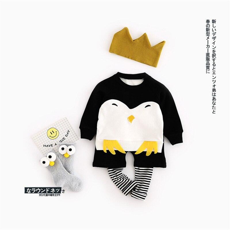 Baby cute set kids  Long sleeve + pants set cartoon  1-3Y  Toddler jumpsuit  Baby costume 2017 spring  Penguin pattern<br><br>Aliexpress