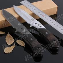 COLT Titanium Knife Blade Camping Hunting Straight Knife Cutter Wood Handle Tactical Fixed Blade Knife Tools with Leather Sheath