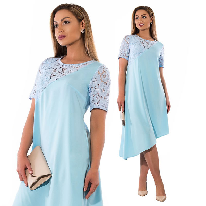 summer beach dress 2018 maxi dress short sleeve casual lace loose plus sizes dress elegant drawstring women big size clothing 4
