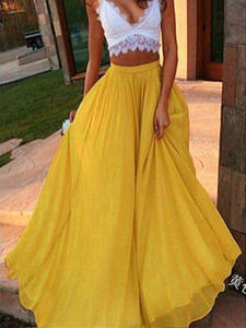 Summer Skirts A-Line Waist-Pleated Chiffon Elastic Boho Vintage High-Waist Beach Saia