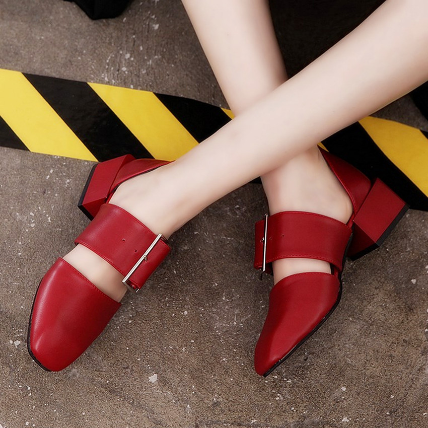 2017 summer sandals medium heel square toe leather pumps fashion design wide heel lady pumps shoes<br><br>Aliexpress