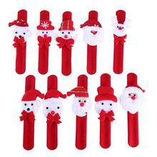 12pcs Random Pattern Santa Claus Slap Bracelet Xmas Christmas Wristband Snowman Gift Party Decor Pat Hand Circle(Random style)(China)