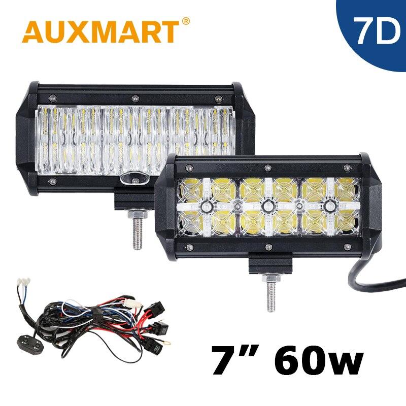 Auxmart 7 Inch 60W 7D LED Light Bar CREE Chips LED Bar 12V 24V Vehicle Pickup Truck Tractor Trailer Barra 4X4 ATV Boat<br><br>Aliexpress