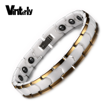 Vinterly Femme 18 Cm Gold Color White Ceramic Bracelets Health Energy Hematite with Magnetic Jewelry for Women