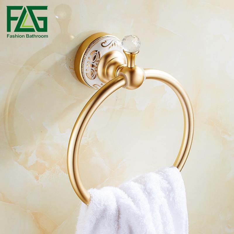 FLG  Bath Towel Holder Ring Towel Rack Towel Rack Bar Bathroom Space Aluminum Gold Bathroom Accessories<br>