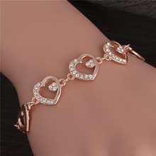 Hesiod Top Quality Trendy Summer Style Brand New fashion Hot Gold Color Heart Crystal Jewelry Charm Bracelet For Women
