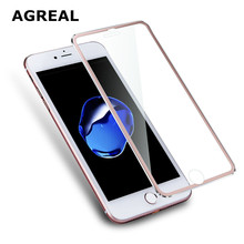 AGREAL 3D Aluminum alloy Tempered Glass Case Coque for iphone 6 6s / 7 Plus Full Film Fundas For 5 5s se 5C Case Rose RED Gold(China)