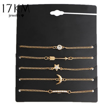 17KM 5 pcs/set Vintage Gold Color Crystal Moon Bracelet Set Punk Key Letter V Bracelets Love Moon Bijoux Jewelry Gifts(China)