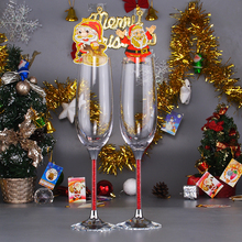 New style colored glass wine glasses with Rhinestones Stem customed colored glass goblets red crystal drinking glasses Christmas(China)
