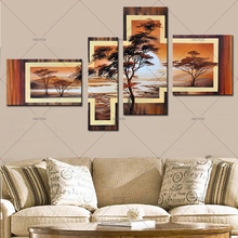 100%Handmade Abstract Tree Landscape Oil Painting 4 Piece Canvas Art Set Pictures Modern Wall Decor Golden Sun Art Decorative(China)