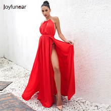 2016 New Autumn Fashion Sexy Halter Neck Dress high split Slim Waist off Shoulder Backless Party Club Dresses(China)