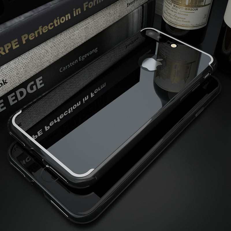 Roybens For iPhone 6 6S Plus Case Luxury Clear TPU Bling Mirror Case For iPhone 7 Plus 5 5S SE Soft Silicone Jet Black Cover Bag(China (Mainland))