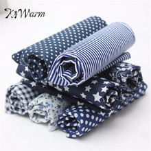 KWarm 7pcs/lot Dark Blue Assorted Pre Cut Charm Cotton Quilt Fabric 50*50cm Suqares Comfortable Fabric DIY Handmade Material