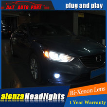 car styling For ATENZA headlights U angel eyes DRL 2014-2015 For ATENZA LED light bar DRL bi xenon lens h7 xenon(China)
