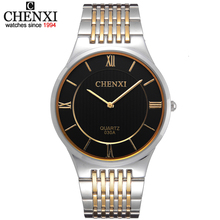 Golden New Clock Men's Super Slim Case Quartz Watches CHENXI 030A Gold watch men full steel watch gold man watch stainless steel