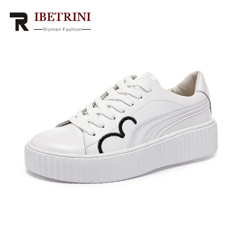 RIBETRINI Brand Design Genuine Leather Sneakers Shoes White Women Comfortable Fashion Spring Leisure Woman Shoes<br>