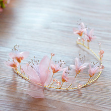 European High Quality Gold Tiara Crown + Earring with Pink Flower Hairbands Set Party Hair Accessories