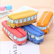 Cute School Bus Pencil Case,large capacity canvas car pencil bag,orange,red,yellow,blue available 10pcs(China)