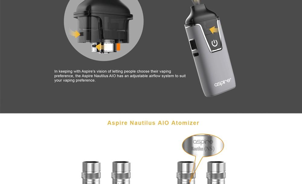 In stock!! Aspire Nautilus AIO kit newest aspire pod system kit with 1000mAh battery 4.5ml capacity pod vape kit vs breeze 2 kit 5