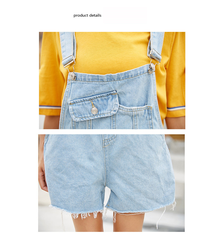 Summer new college style sweet diagonal personalized pockets skirts pants denim shorts female (7)
