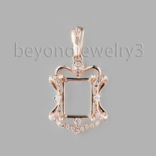 Loverjewelry 0.16ct Diamond Semi Mount Pendant Hold Emerald Cut 7x8.8mm 18k Rose Solid Gold Pendant Hot Sale SR002