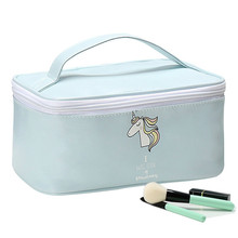 Women Cosmetic Bags Cartoon Unicorn Fashion Zipper Waterproof Suitcase Makeup Bags Portable Travel Cosmetics Storage Box(China)
