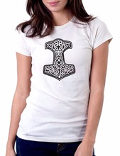 2017 New T-Shirts Women O Neck Cotton T-Shirt  Thor'S Hammer Viking Norse t Shirt Custom  Women Slim Fit Sexy Cotton Tshirts Fun