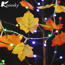 Colth Maple Leaves Fairy Light Mixed Color Orange Yellow Leaf Autumn String Light Fall Christmas Decoration Battery Operated(China)