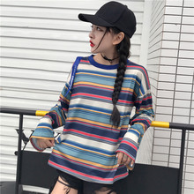 T shirt Femme 2017 Autumn Woman Clothes Korean Style Harajuku Retro Colorful Striped Ribbon T-shirt Women Long Sleeve Tops