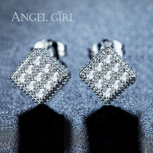 Angel Girl white Gold colour Three-dimensional square Champagne Cubic Zirconia 7.5mm and White Cubic Zirconia Stud Earrings EW45
