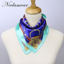 Luxury Brand Carriage Chain Horse Women's Scarf Printed Square Small Sizes Female  Hijab Foulard  scarves for Elegant Lady