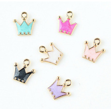 10pcs/lot Crown charm Gold color colorful crown pendant ,Metal Enamel Charm For DIY Jewelry Making