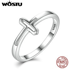 WOSTU Hot Real 925 Sterling Silver Devout Cross Rings For Women Luxury European Authentic S925 Fine Jewelry Gift CQR033